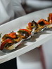 Ciabata canapés with roasted vegetables
