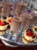Baked cheesecakes with fruit and homemade hot choc