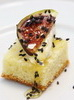 Camembert and fig on brioche with black sesame seeds
